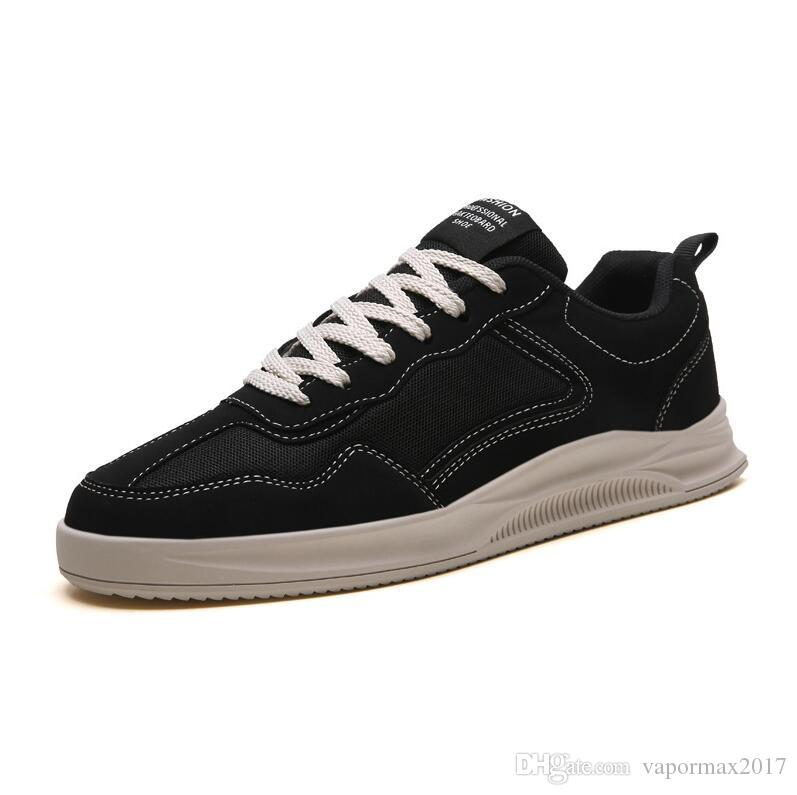 2019 Modası erkek siyah beyaz bej katı ucuz erkek eğitmenler ayakkabı sneaker nefes rahat ayakkabı womens