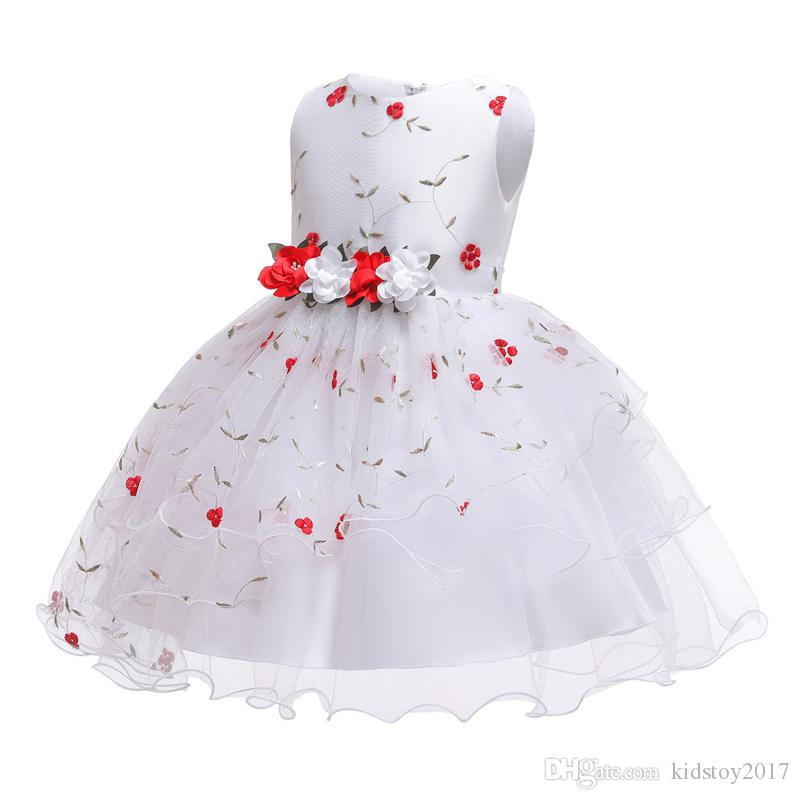 1pc Girls Party Dresses Princess Wedding Skirt sleeveless children dresses kids veil party Evening princess embroidered bowknot dress