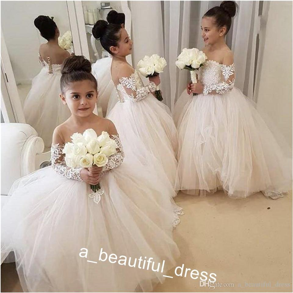 Lace Flower Girl Dresses for Weddings Jewel Neckline Long Sleeves Custom Made Girls Pageant Gowns A-line Kid Birthday Party Dress FG1251