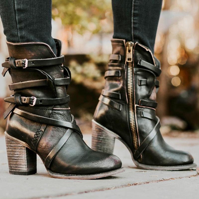 Heflashor 2019 botas de salto alto sapatos bicudos Multi-camada de Mulheres Buckle Voltar Zipper cor sólida sapatos da moda