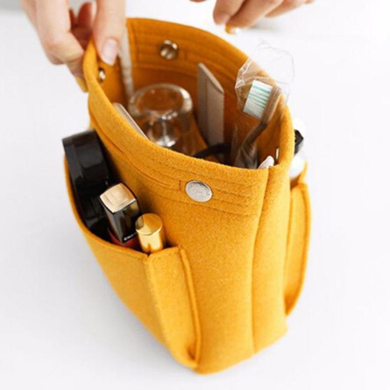 Inserire toilette delle donne del sacchetto in feltro dell'organizzatore di corsa della borsa della borsa di grandi dimensioni di trucco Casi contenitore borsa cosmetica della Bellezza femminile Tote