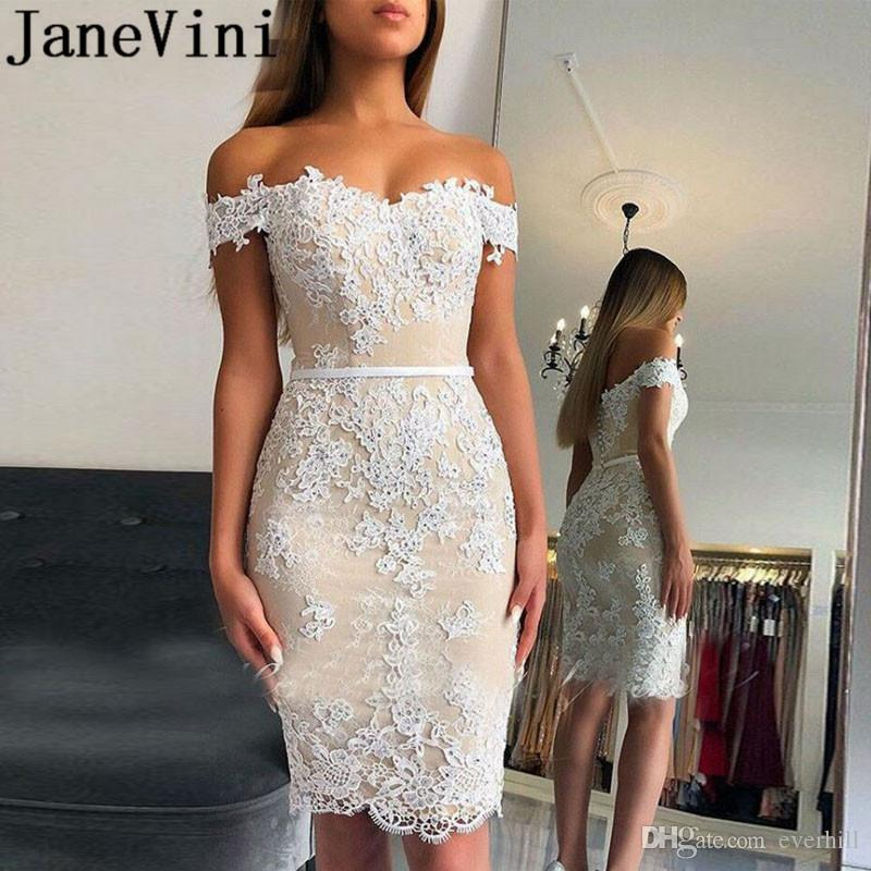 JaneVini Beaded Light Champagne Cocktail Dresses Knee Length Short White Lace Applique Sweetheart Women Tight Fitted Prom Party Dress