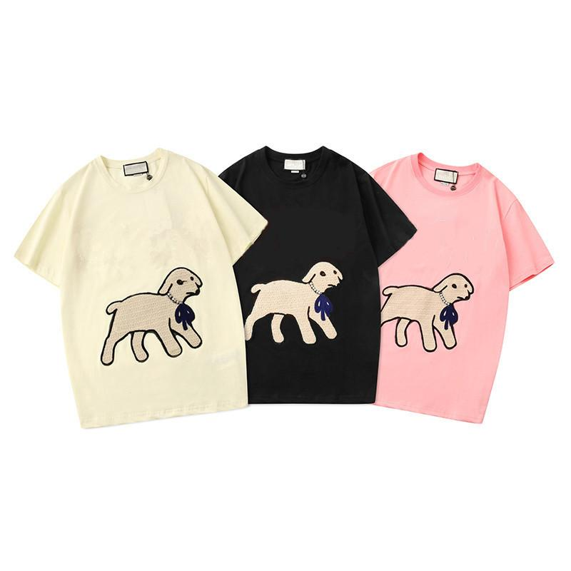 New Sale Mens Tshirts Brand Summer Black Beige Pink Designer Little Lamb Embroidery Fashion Short Sleeve Tshirt Men Women Cotton Tops