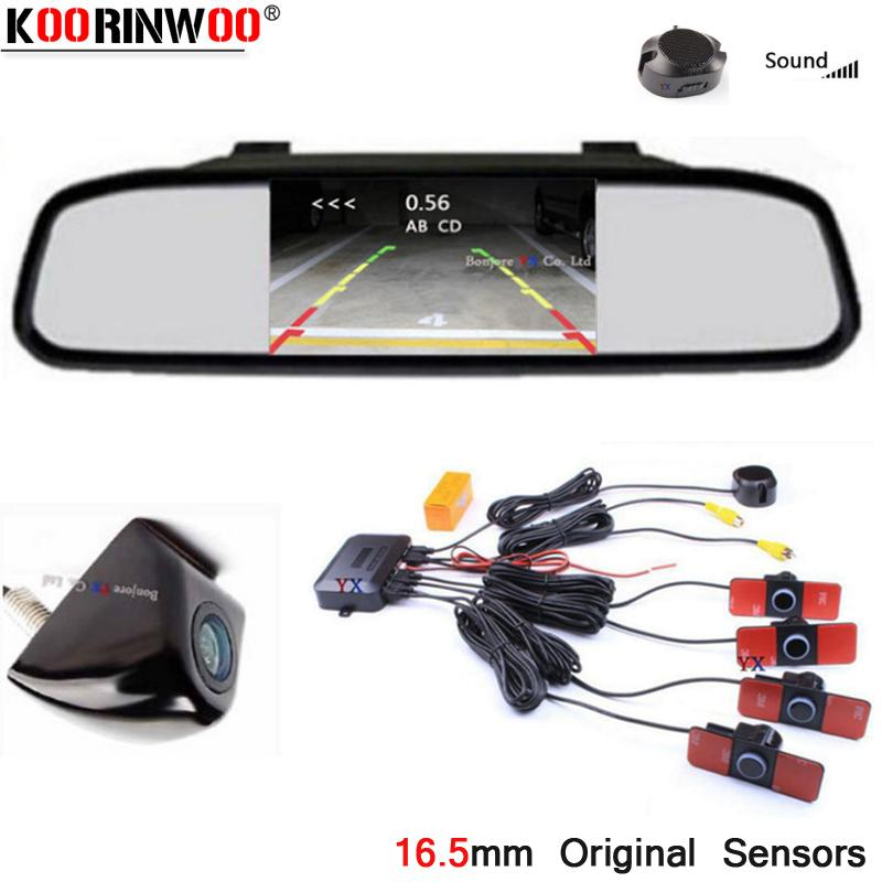 Koorinwoo Wireless Video System Monitor Зеркало автомобиля Датчик парковки Камера заднего вида Звуковой сигнал Индикатор Jalousie Парктроник Safe