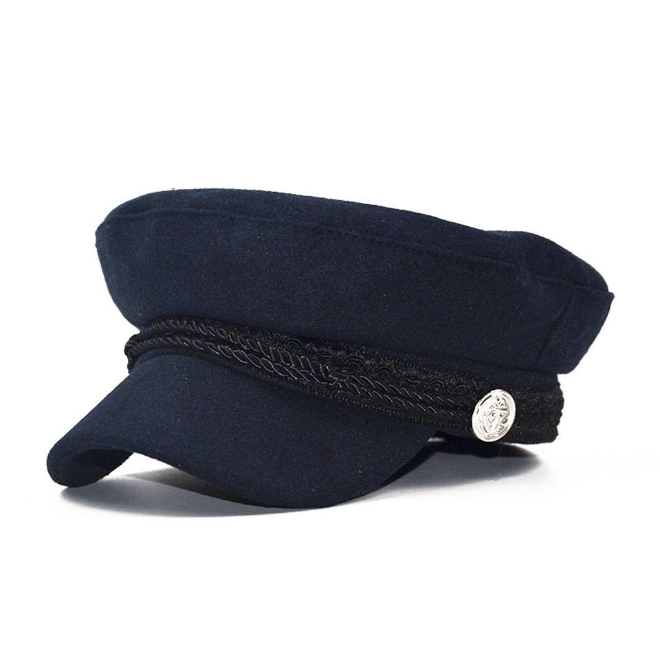 2021 패션 모직 모자 그늘 군사 팔각형 모자 가을과 겨울 레트로 패치 워크 베레모 여성 영어 스타일