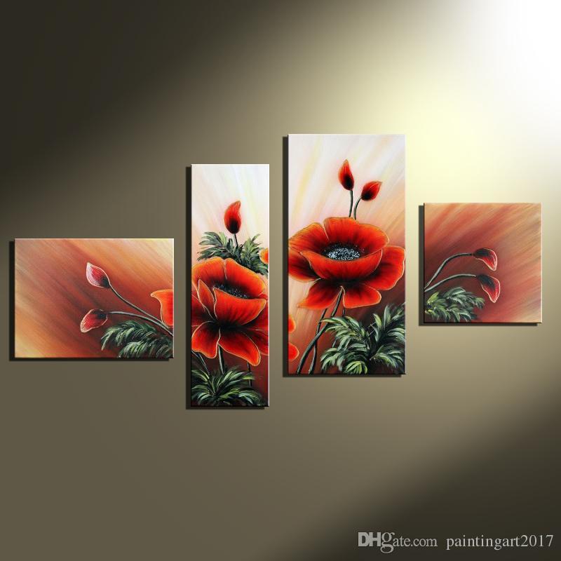 Moderne 100% Handarbeit Schöne Rote Blume Wandbilder für Wohnzimmer 4 Panel Leinwand Home Art Group Ölgemälde Ungerahmt