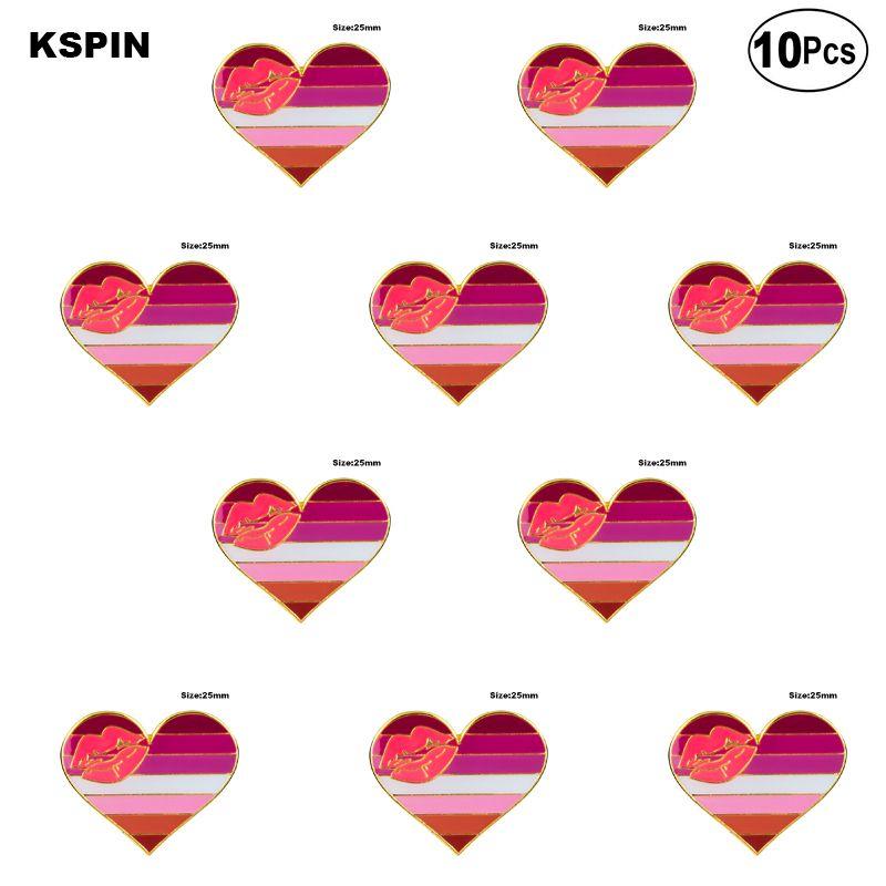 Lipstick Lesbian Pride Heart Shape Lapel Pin Flag badge Brooch Pins Badges 10Pcs a Lot