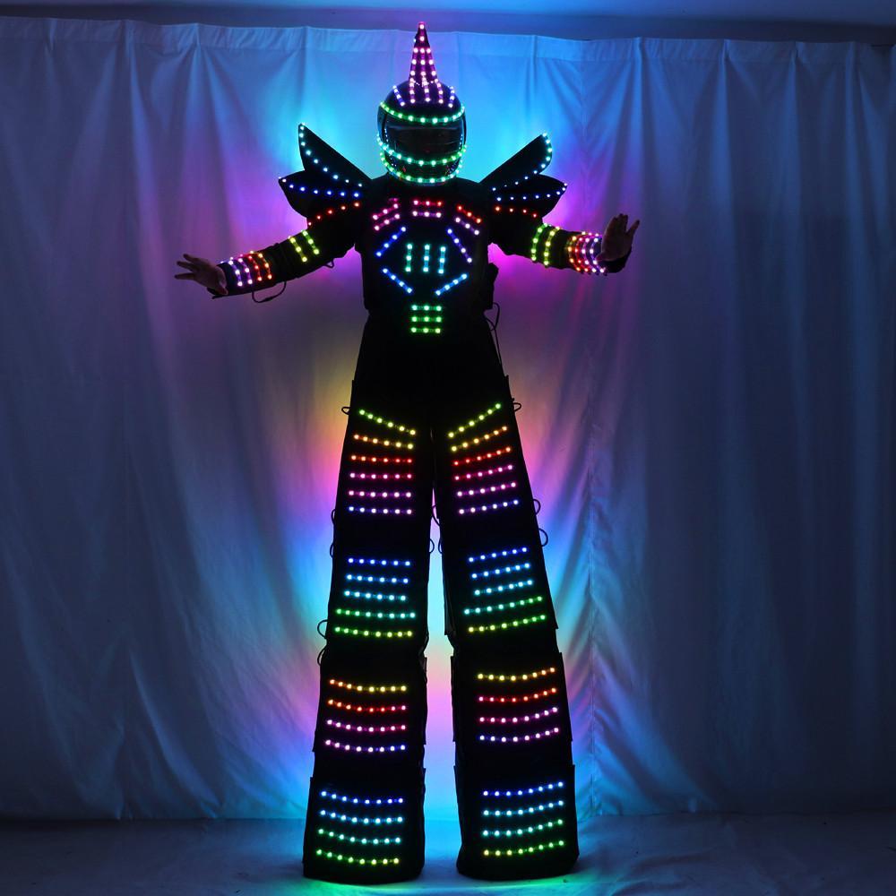 풀 컬러 픽셀 LED 로봇 의상 의류 죽마 워커 의상 LED 정장 의상 헬멧 레이저 장갑 CO2 총 제트 기계