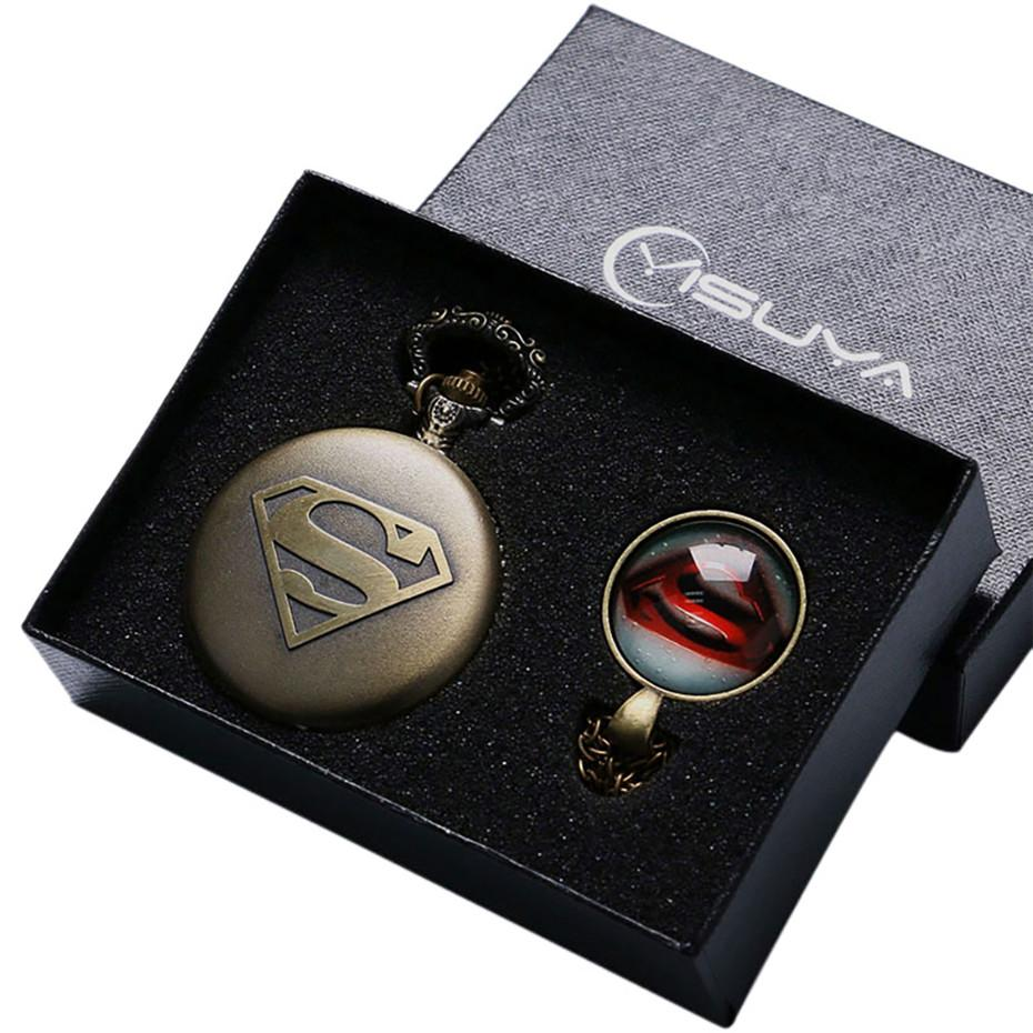 Super Man Design Quartz Pocket Watch with Necklace Chain Clock Pendant Men Fob Watches Gifts Box Set for Husband Father