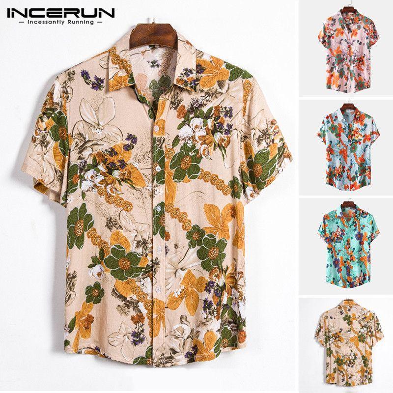 Erkek Casual Gömlekler 2021 Erkekler Pamuk Hawaii Gömlek Kısa Kollu Çiçek Baskılı Yaka Yaz Nefes Beach Streetwear Bluz Incerun