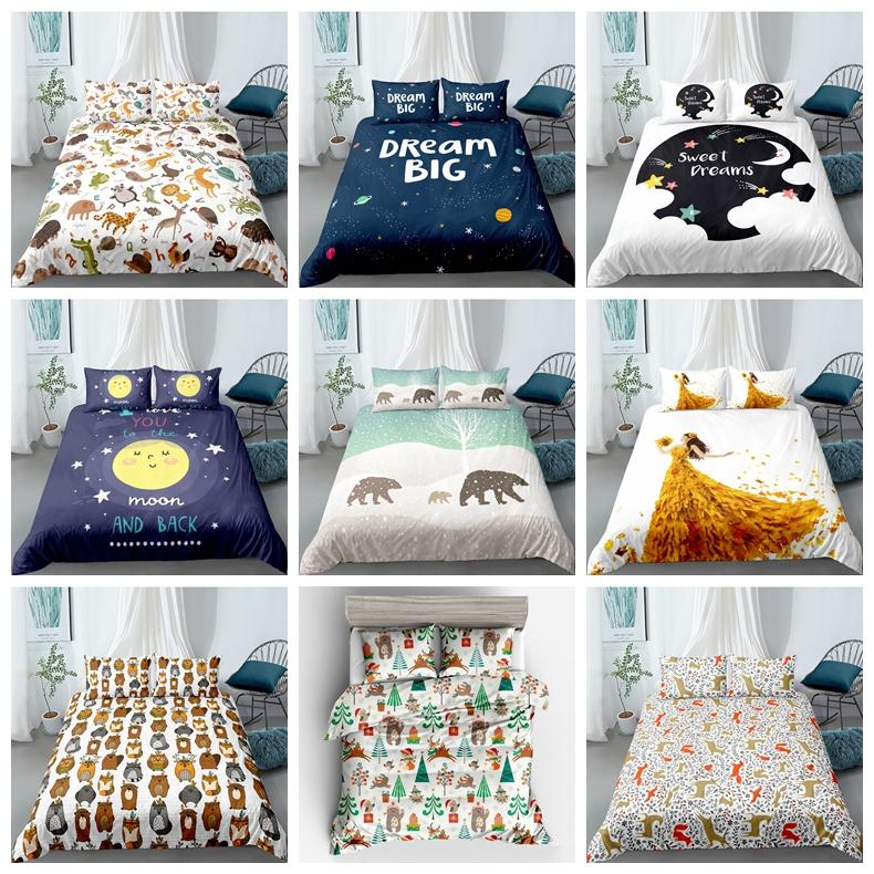 Cartoon Bedding Set For Children Fashionable Cute Duvet Cover 3D King Queen Twin Full Single Double Soft Bed Cover with Pillowcase