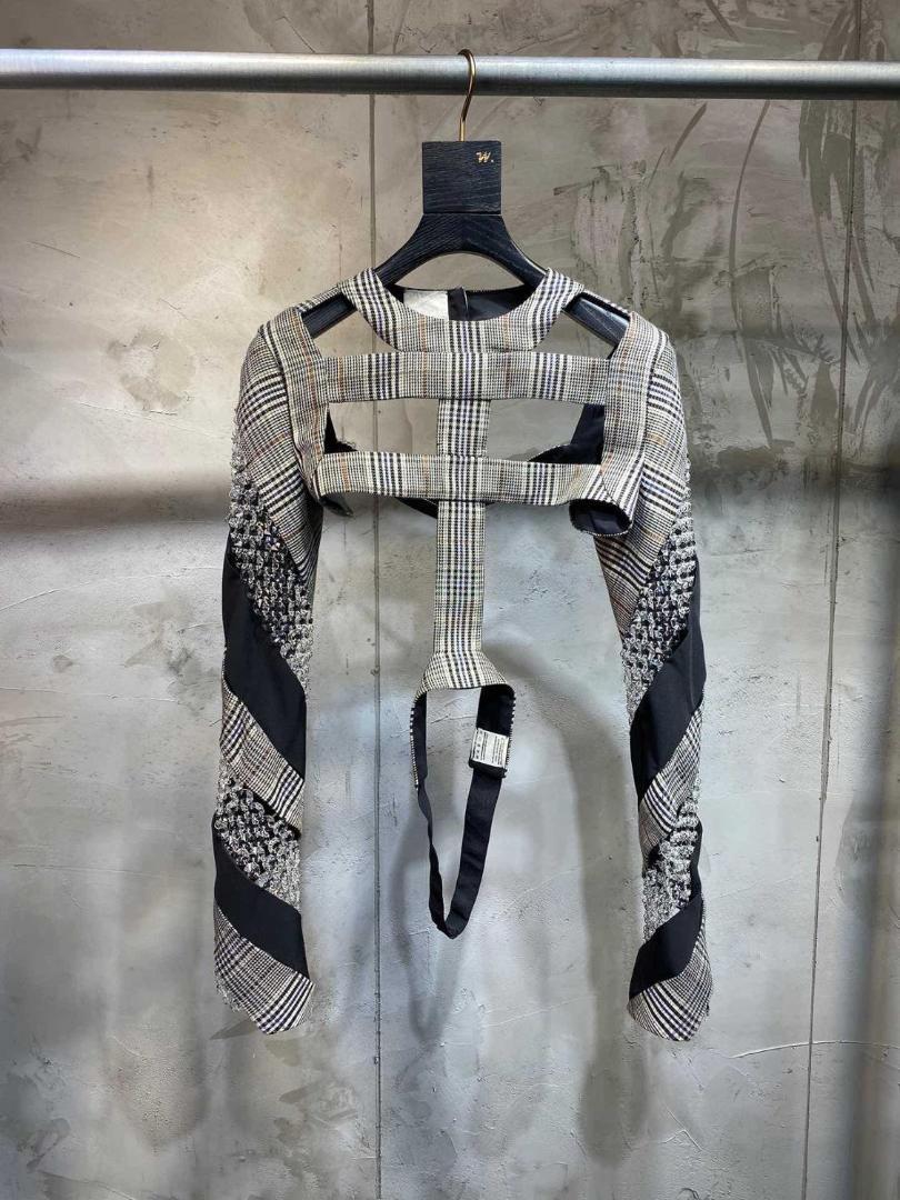 2019 победитель роскошные женщины блестками короткая куртка рубашка женский полый плед топы ddxgz2 11.12