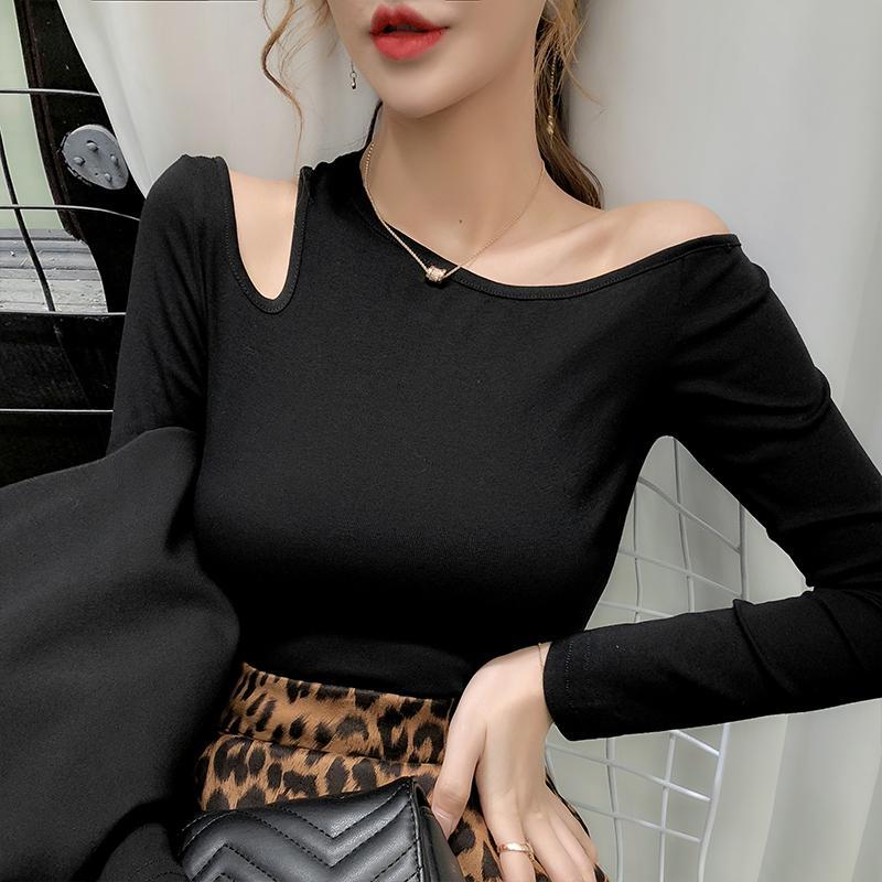Primavera di modo sexy scava fuori fuori dalla spalla in cotone T-shirt Tops Abbigliamento Ropa Mujer basa la camicia T 2020 Nuovo T03103