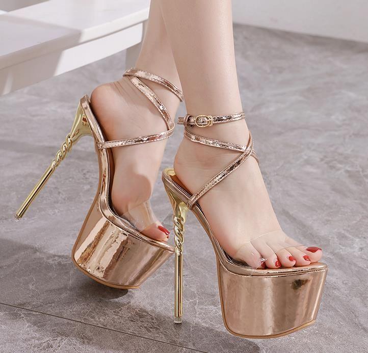 16cm ultra high heel designer shoes plus size 35 tp 42 42 gold ankle strap platform dress shoes women designer sandals tradingbear