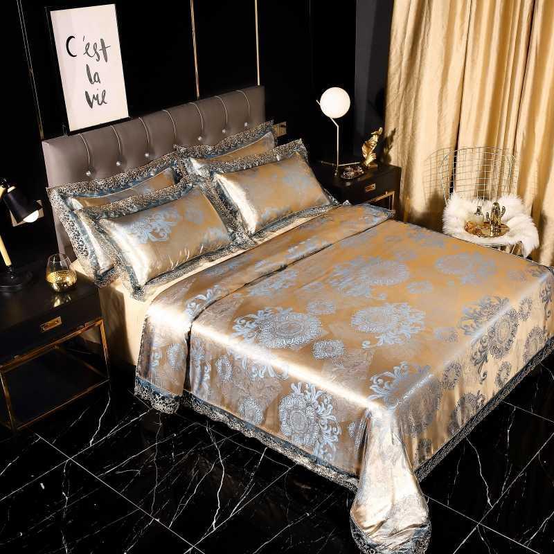 2020 황금 자카드 침구 세트 레이스 이불 커버 + 플랫 시트 + 베개의 4 개 유럽 조개 침대 커버 세트 리넨 침대