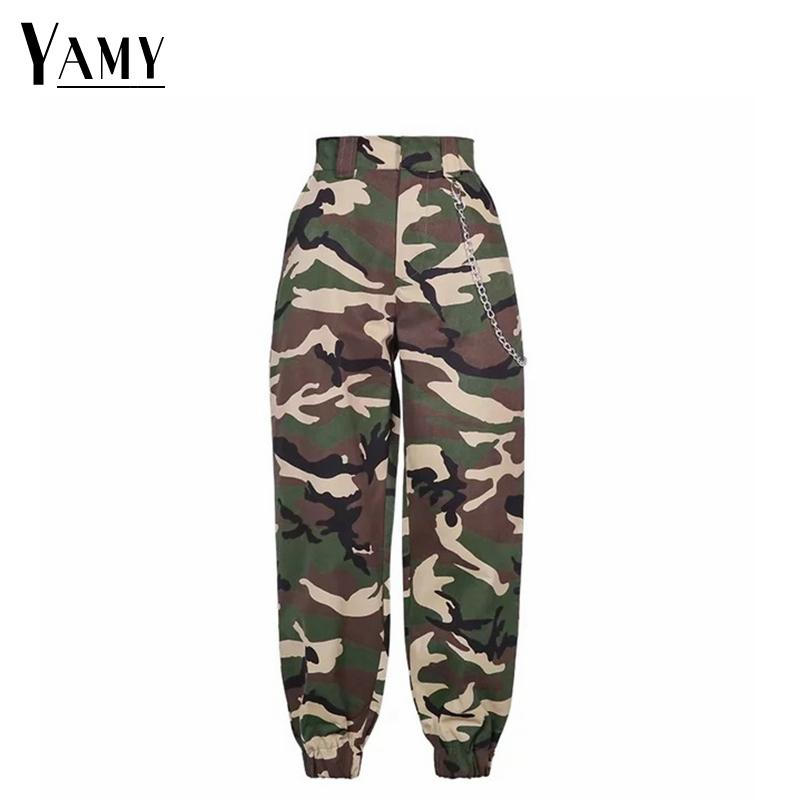 2019 New High Waist Cargo Pants Women Camouflage Sweatpants Joggers Chain Camo Pants Girls Cargo Trousers With Chain Streetwear Y19071801