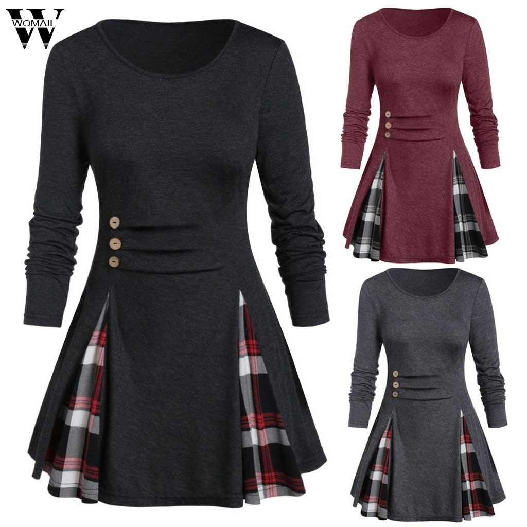 Womail Shirt Frauen-Herbst-Winter Langarm Tartan Tunika Pullover Tops Unregelmäßige Plaid Pullover Blusas Feminina Plus Size Drucken