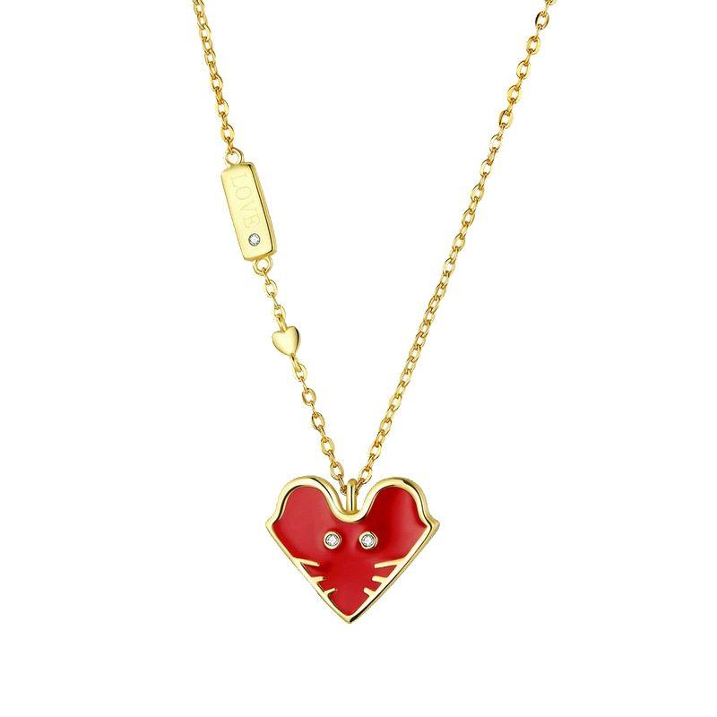 Collier chanceux souris rouge à longue chaîne de soirée de mariage Collier Femme Bijoux Rat Zodiac en forme de coeur rouge Dripping Grand