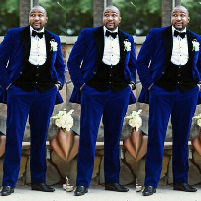 Royal Blue Velvet Men/'s Dinner Tuxedos Slim Prom Party Groom Wedding Suit Custom