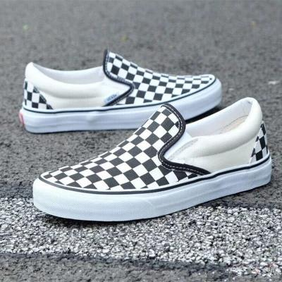 Spring/summer 2018 new fashion black and white check canvas shoes men's and women's shoes checkerboard check suit flat shoes summer casual s