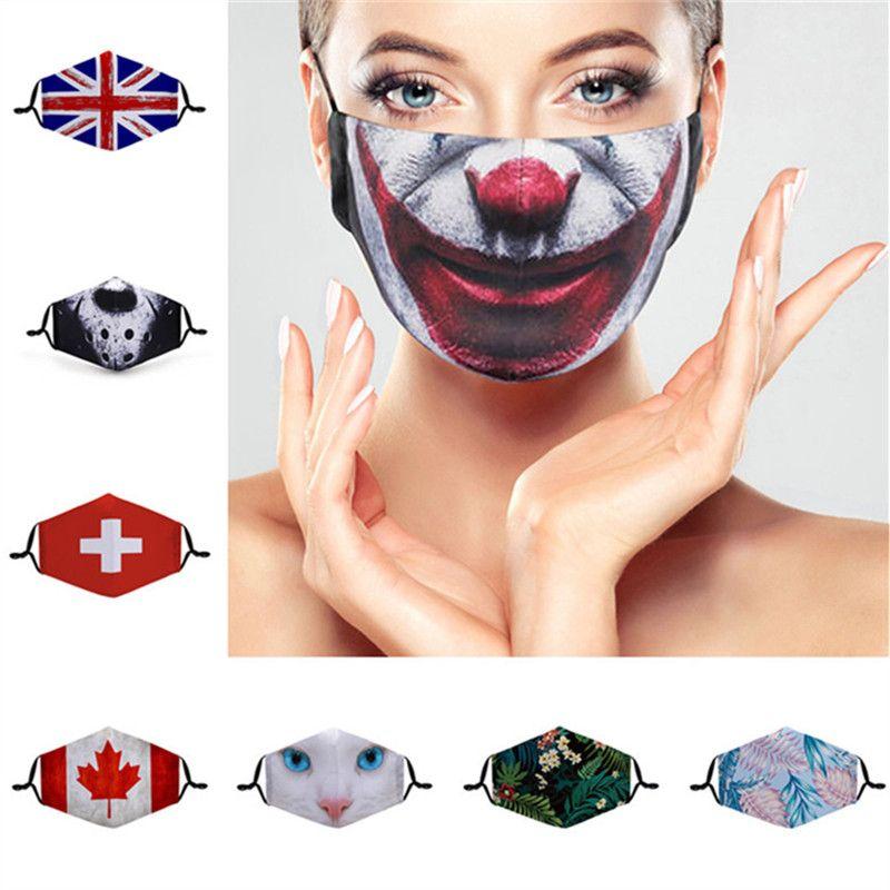 3D Cartoon Face Mask Women Men Dustproof Designer Masks Washable Cotton Magic Face Mask Flag Floral Animal Print Protective Masks 33 Colors