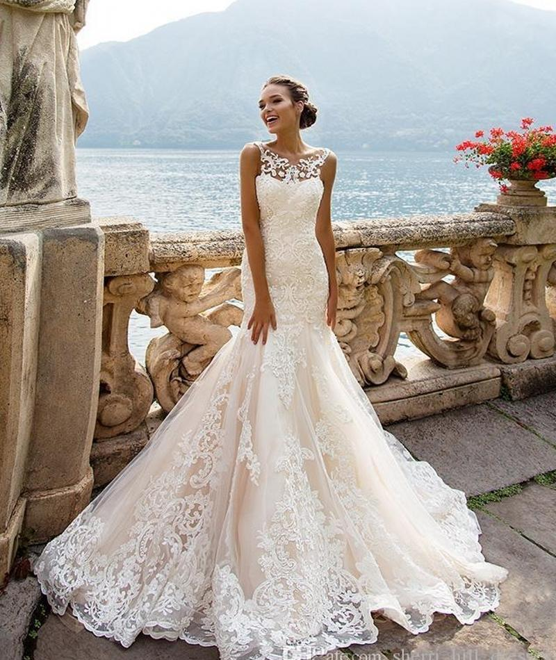 Sexy Plus Size Vintage Backless Wedding Dresses 2020 Sheer Neck Tulle Mermaid Court Train Bridal Gowns Customized DH176