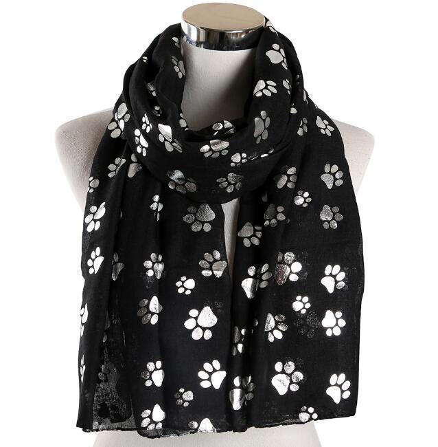 Nuovo cane orme calda sciarpa d'argento della signora temperamento Beach scialle esplosione di stile Sciarpa lunga Telo WY273