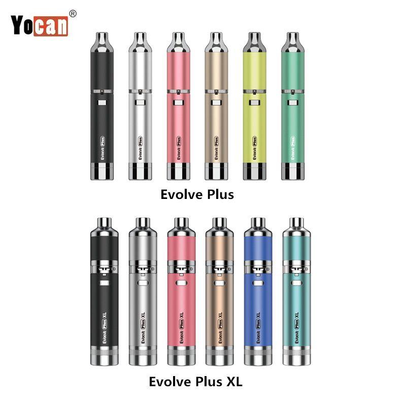 1PC Authentic Yocan Evolve Além disso, 2020 Nova versão Evolve Além disso XL Wax Vape Pen com QDC QUAD Bobinas Dabber Atomizador seco Herb Oil vaporizador Kit