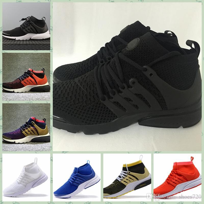 Nike Pristo Flyknit 2019 Prestos High Uppers Acronym Air mids Blanc Noir Bleu Jaune Chaussures de course Hot Lava pour hommes chaussures de sport taille 36-45