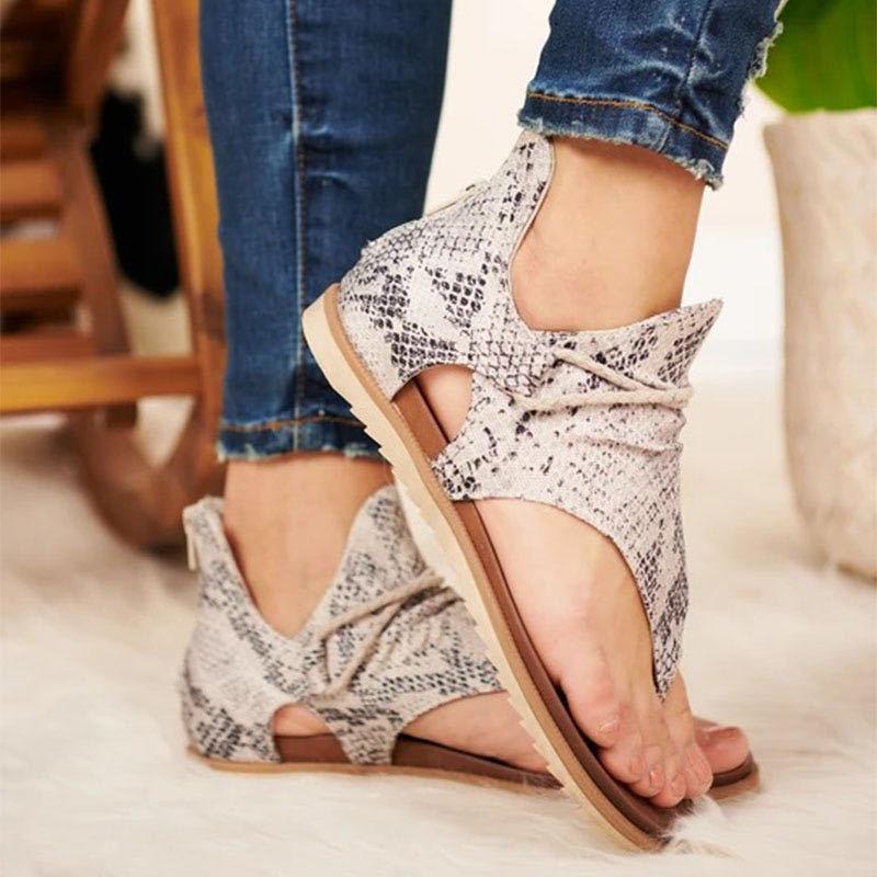 Women Summer Fashion Snake Sandals Ladies Clip Toe Vintage Flat Shoes Woman Casual Beach Sandals Zipper Female Casual Shoes Y200620