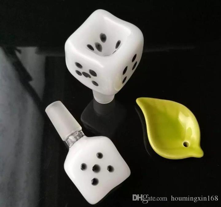 Mahjong cabeça da bolha dados, bongs de vidro grosso, cachimbo de água de vidro, acessórios de tubulação de fumo