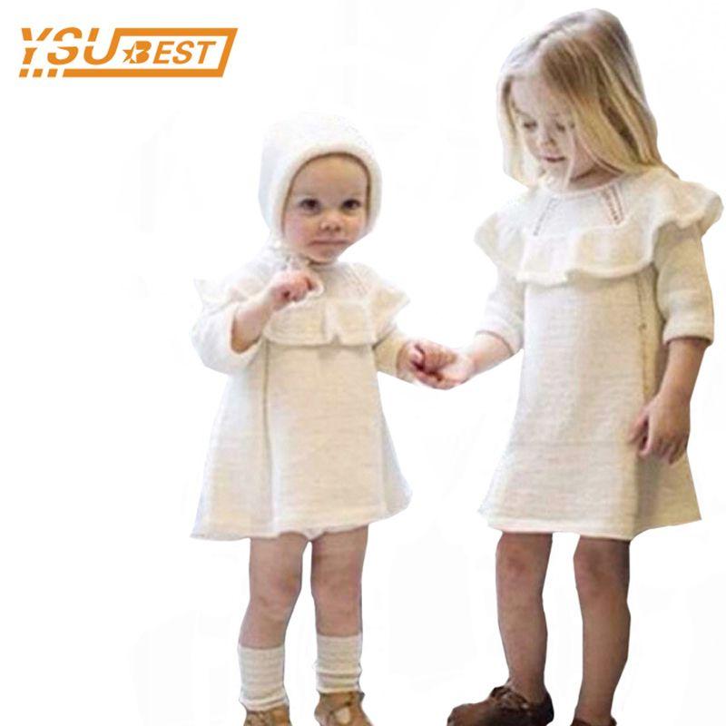 Nuovo 2018 Neonate Maglione Dress + cap 2pcs Vestiti delle ragazze 0-5 anni Neonata Vestito lavorato a maglia Marca Cotone Bambini Vestiti manica lunga J190505