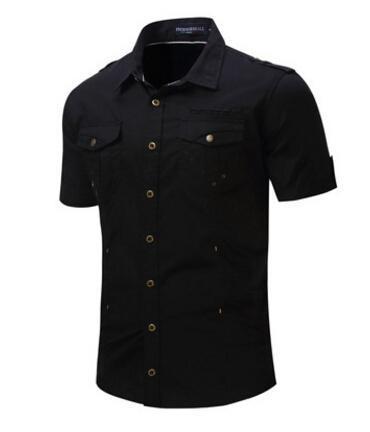 Yaz Gömlek Erkek Casual Gömlek Kısa Kollu Haki Siyah Gri Gevşek Tees Tops