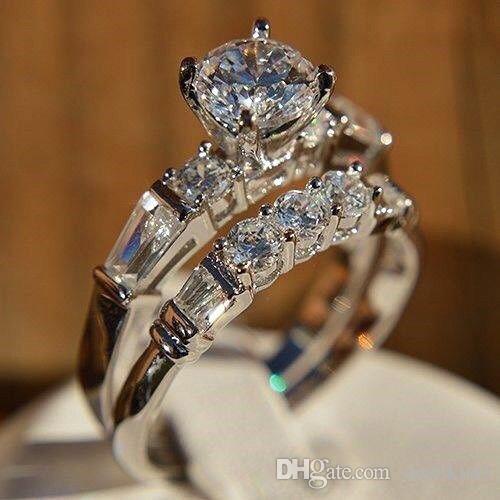 2 قطعة أنيقة بلينغ بلينغ الفاخرة الزفاف الأبيض الزركون الفضة خاتم الخطوبة الفرقة الوعد للنساء 5 الحجم