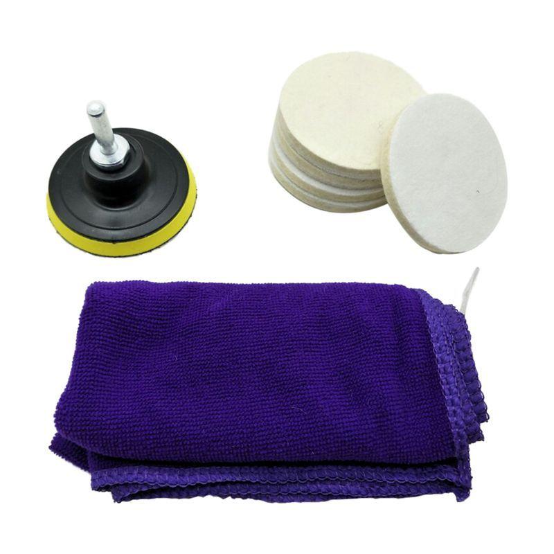 8PC 3inch 75 milímetros de feltro Polishing Pad Pára-brisas zero reparo de vidro para polimento Kit