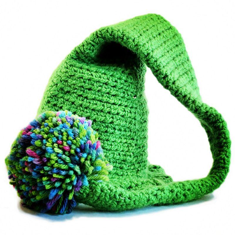 Crochet Baby Elf Hat,Handmade Baby Boy Girl Green Stocking Hat with Color Pom Pom,Kids Long Tail Beanie,Infant Newborn Photo Prop