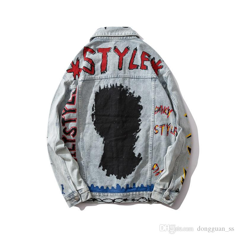 Carta de Graffiti Hip Hop dril de algodón chaquetas de los hombres de la nueva manera Streetwear Jeans Chaquetas Hombre Ropa