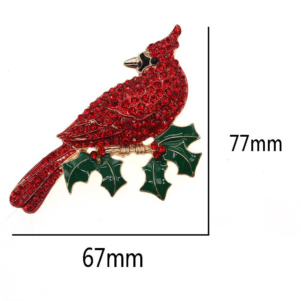 Free Shipping 1 pcs/lot Cute Cardinal Bird Brooch High Quality Rhinestone Animal Brooch Red Bird Brooch