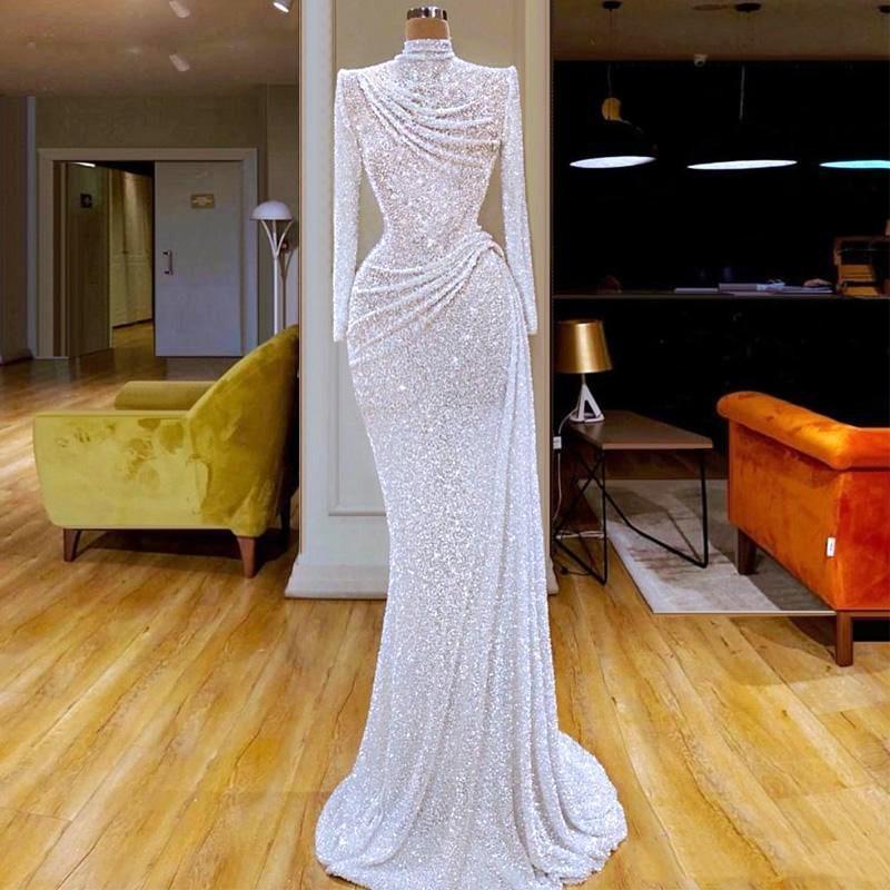 2020 Glitter Mermaid Abiye Uzun Kollu Dantelli Yüksek Yaka El yapımı Seksi Balo Abiye elbise de soiree Pageant Parti Elbise