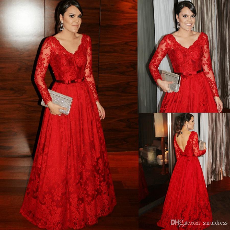 Elegante abito da sera in pizzo con scollo a V abito da sera rosso con cintura maniche lunghe con paillettes e lunghezza abito da sera in pizzo