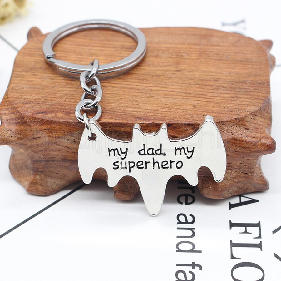 My dad My Superhero Keychains Creative Letter Animal shape Keyrings Simple Car Key Holder The Avengers Cartoon Accessories TTA999