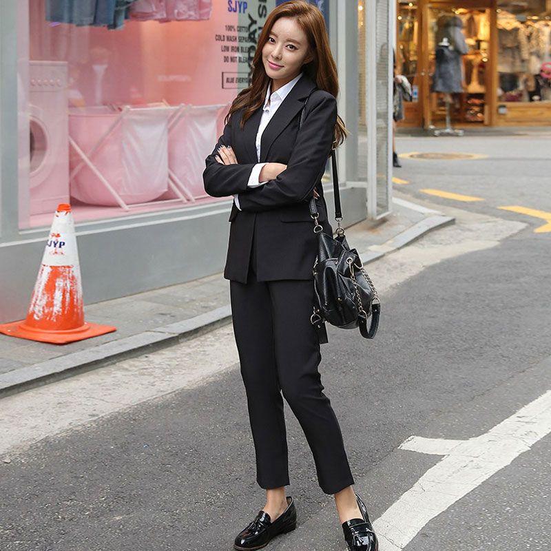Kadınlar Seti Femme İçin 2020 Yeni Şık Ofis İş Elbiseleri Pant Suit 2 Adet Setleri Katı Blazer Ceket Pantolon Takım Elbise