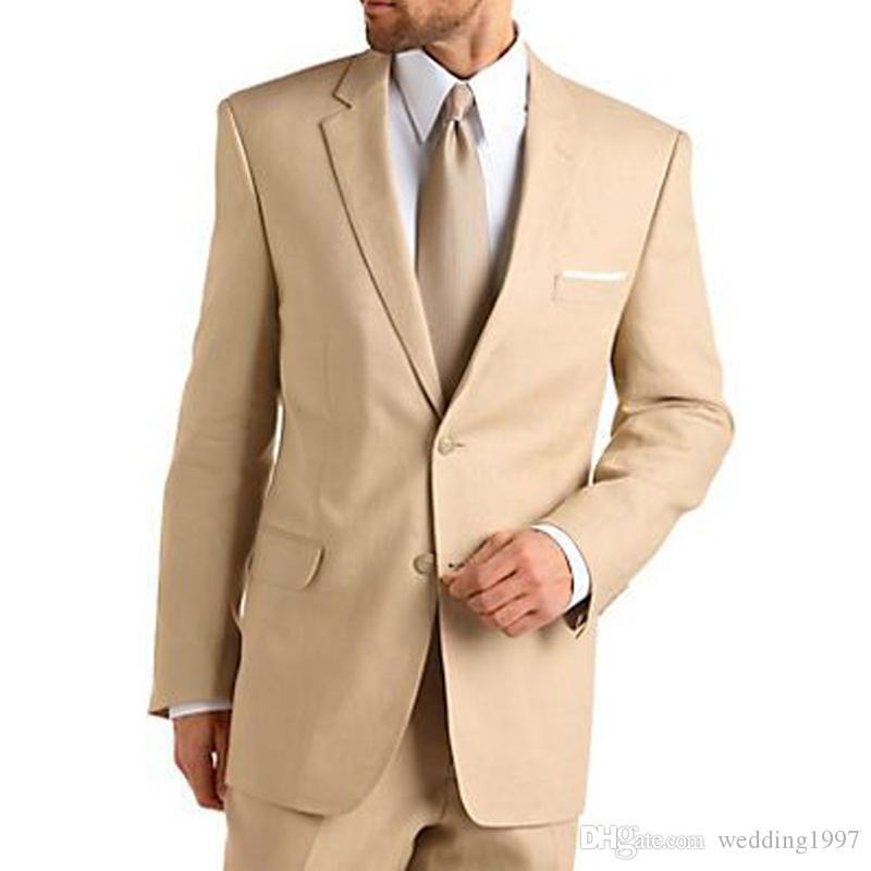 Caqui formales trajes de boda de los hombres de los smokinges del novio con muesca solapa personalizados pantalones de la chaqueta 2 pieza macho WH080