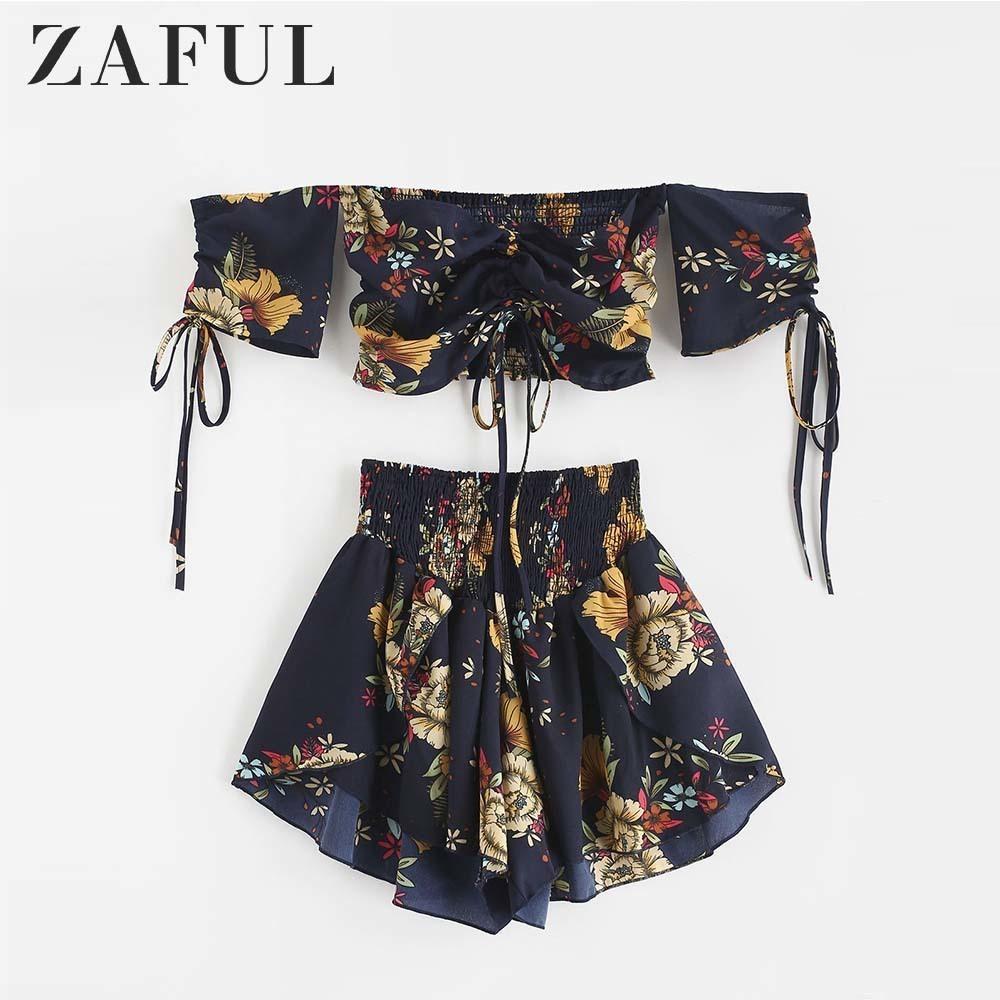 ZAFUL Kapalı Omuz Cinched Çiçek Kadınlar Set Slash Boyun Kısa Kollu Mahsul En Yüksek Bel Şort Set Plaj Boho Yaz T5190610 Suits