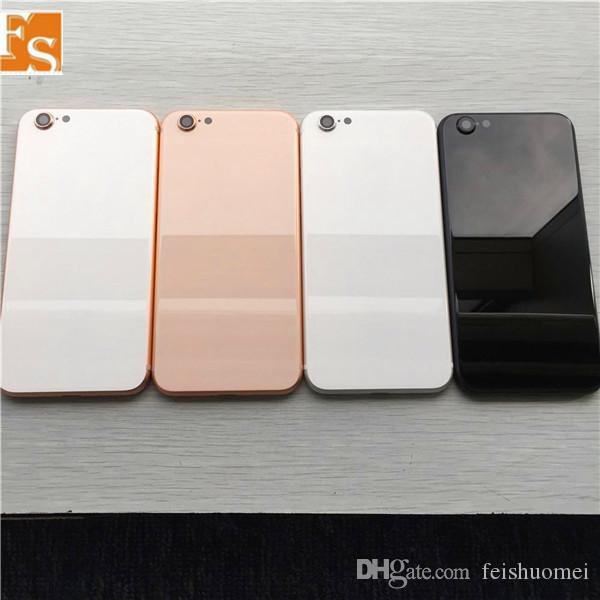 2020 لاستبدال زجاج فون 6 6P 6S 6SP 7 7P زائد الغلاف الخلفي للإسكان مثل اي فون 8 أسلوب معدن الغطاء الخلفي مع أزرار
