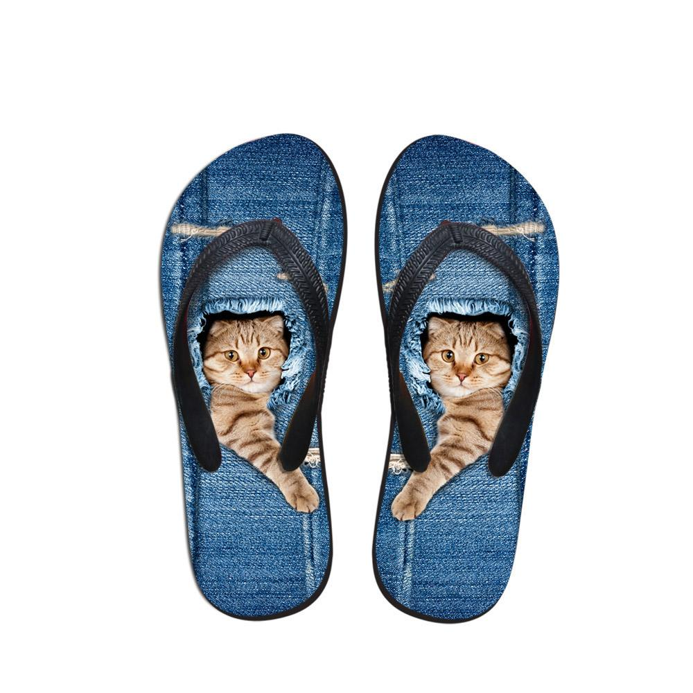 Denim Pet personnalisé Chat mignon Imprimé femmes Pantoufles Summer Beach caoutchouc Tongs Fashion Girls Cowboy Chaussures Bleu Sandales