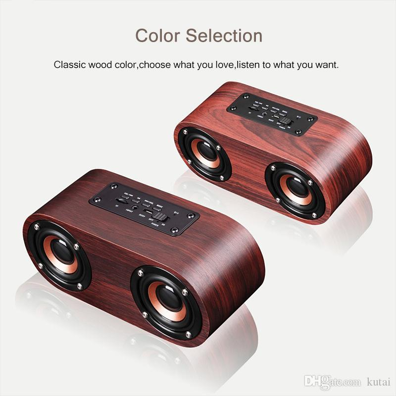 Fashion Q8 Double Horn Bluetooth Wireless Speaker Support AUX Cable Connection and TF Card Playback for Smartphone /Tablet PC / MP3 Wooden
