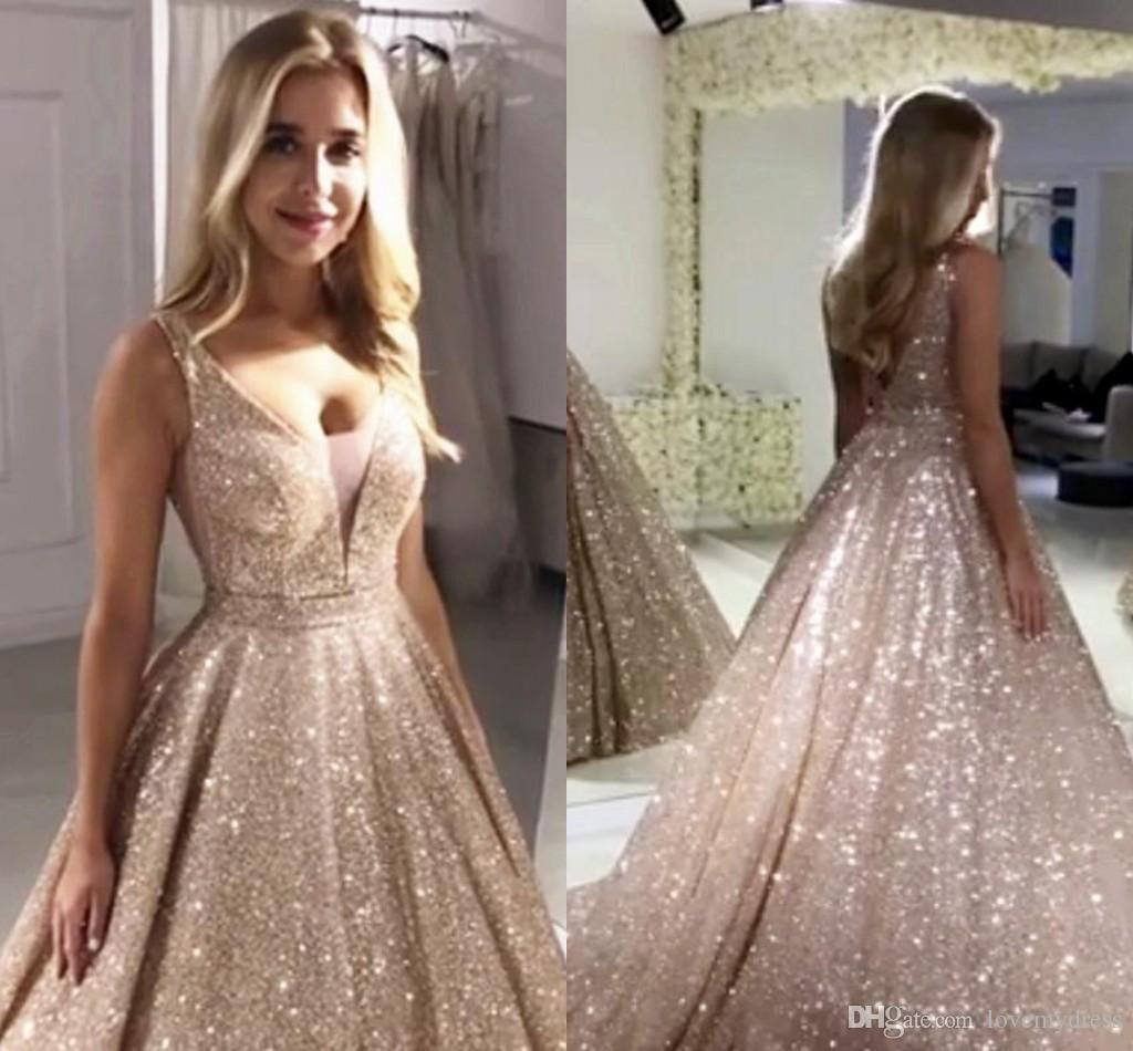 Expensive Rose Gold Sequined Prom Evening Dresses Sexy V-neck V Open Back Empire Waist Bling Party Dress For Special Occasion Long