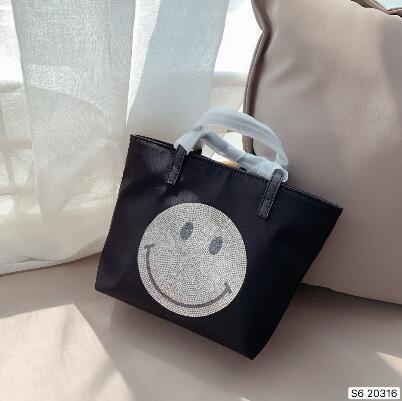Новый женский смайлик лицо сумка, маленькая сумка, Сумка для покупок, рюкзак, винтажная сумка черный размер 20*20 см