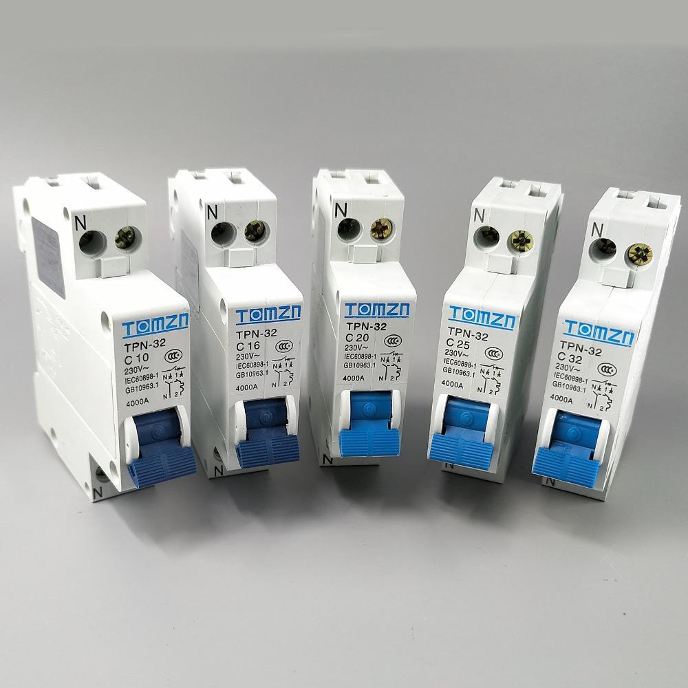TPN 1P + N Mini disjoncteur MCB 10,16,20,25A, 32A Disjoncteurs Home Improvement bon marché coupe-circuits